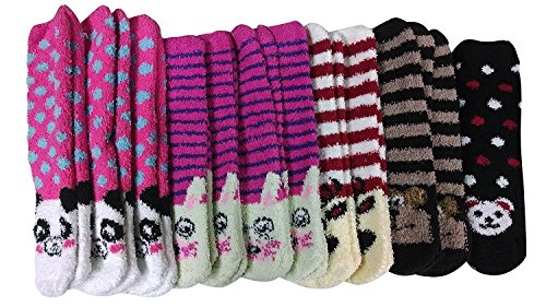 Womens Fuzzy Socks (6 Pairs) Soft Warm Winter Comfort Socks Multicolor, by ()