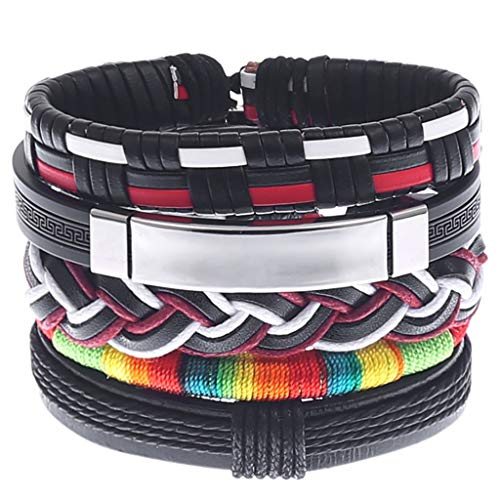 GDJGTA Bracelet Bangles Women Men Unique creativity Simple Vintage Woven Leather Bracelet Alloy Guitar Leather Bracelet Set