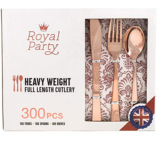 300 Pieces Premium Rose Gold Plastic Silverware from Royal Party | Disposable Heavyweight Plastic Cutlery | Full Length Flatware Set - Includes 100 Forks, 100 Spoons, 100 Knives.
