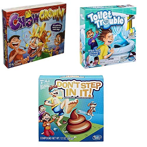 Fun Games Bundle - 3 Total Items - Chow Crown, Toilet Trouble, Don't Step in It