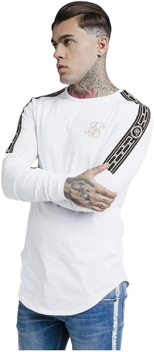 Sik Silk Hombre Camiseta de Gimnasio Longsleeved, Blanco, Small: Amazon.es: Ropa y accesorios