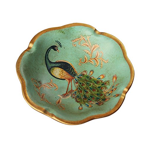 SSBY American Countryside Antique Ceramic Ashtray Hand Painted Handicrafts Peacock Home Decoration Ashtray Ornaments 15Cm