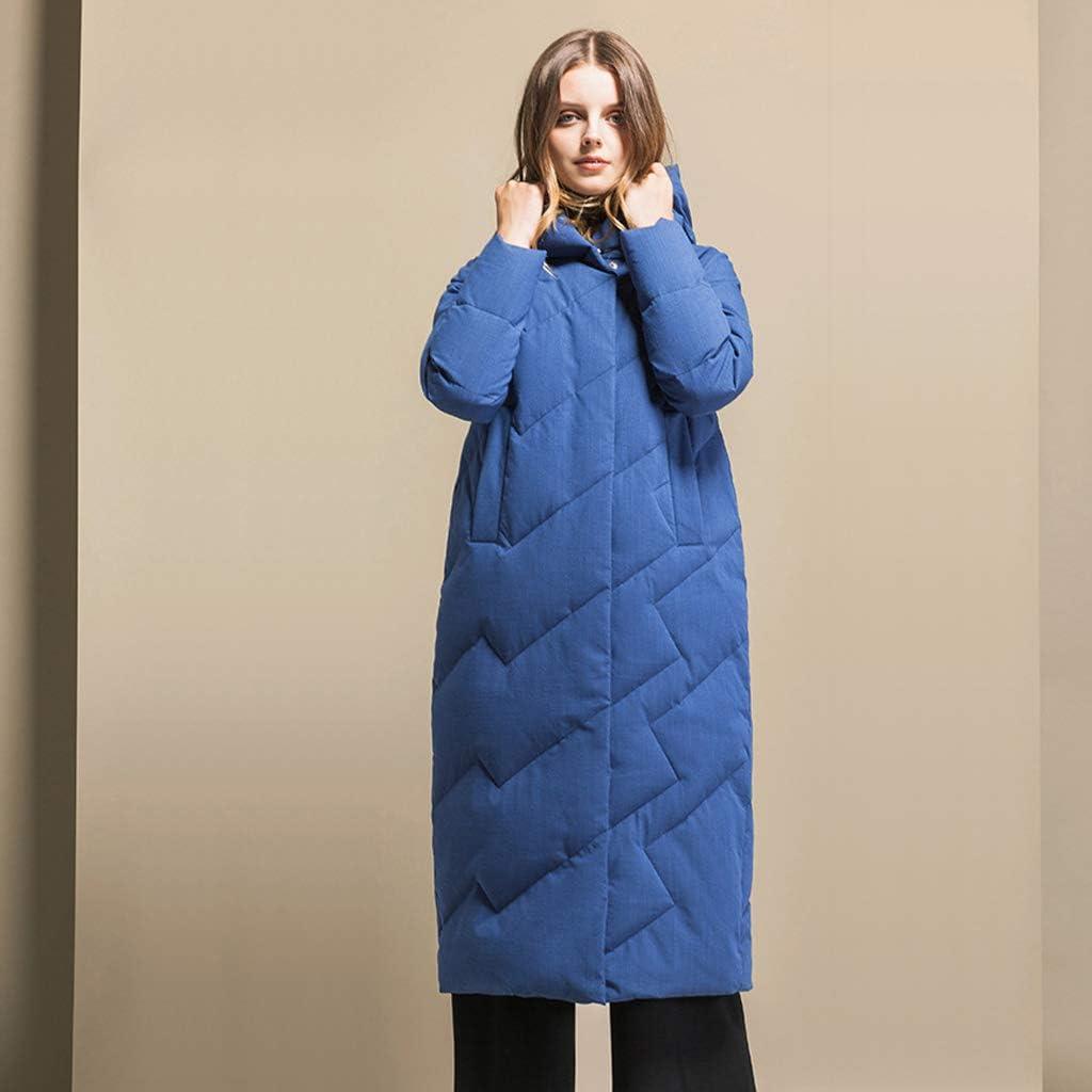 LOGYIO Manteau Long à Capuchon Chaud pour Femmes avec Bouton à glissière Blue