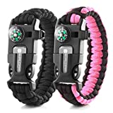 X-Plore Gear Emergency Paracord Bracelets | Set Of 2| The ULTIMATE Tactical Survival Gear| Flint Fire Starter, Whistle, Compass & Scraper/Knife| BEST Wilderness Survival-Kit -- Black(K)/Pink(K)