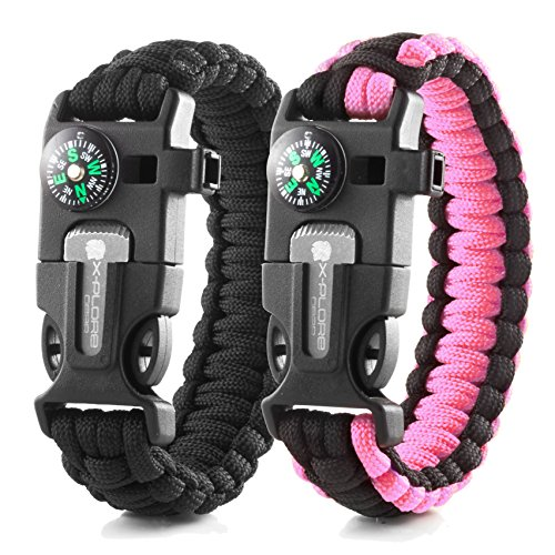 X-Plore Gear Emergency Paracord Bracelets | Set Of 2| The ULTIMATE Tactical Survival Gear| Flint Fire Starter, Whistle, Compass & Scraper | BEST Wilderness Survival-Kit - Black(M)/Pink(M) (Starter Kit Pink)