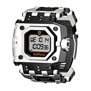 Bulltoro men s crown operated digital with stainless steel case and bracelet 5001 for Bulltoro watches