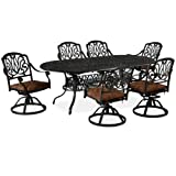 Home Styles Floral Blossom 7-Piece Dining Table, Charcoal For Sale
