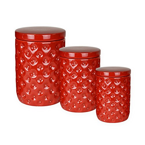 Red Retro Ceramic Kitchen Containers Nested Canisters