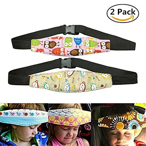 Car Seat Head Support Band Safety Pram Nap Holder with Adjustable Playpens Sleepy Positioner for Infants Baby Toddler Kids 2 Pack