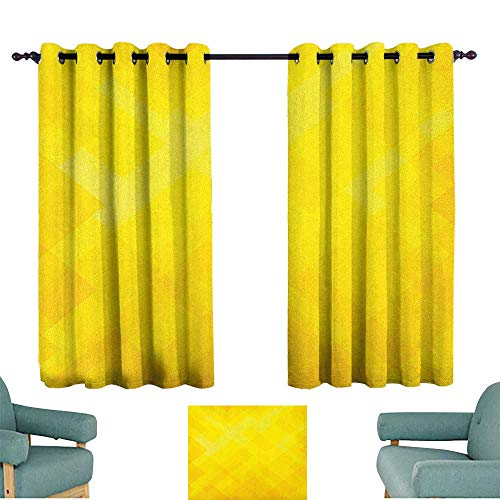 """Yellow,Kitchen Curtains Contemporary Art Inspirations in Yellow Toned Geometrical Rhombus Arrangement 42""""X84"""" Picture Print Decor Curtains"""