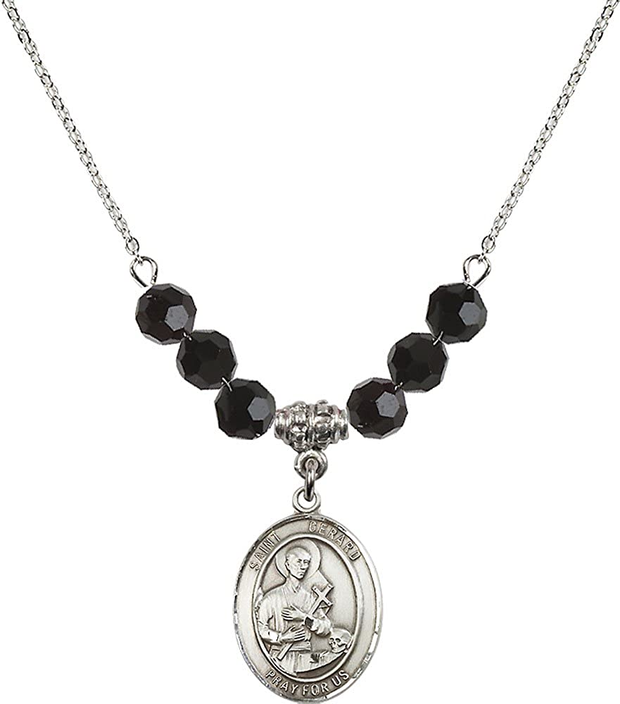 18-Inch Rhodium Plated Necklace with 6mm Jet Birthstone Beads and Sterling Silver Saint Gerard Majella Charm.