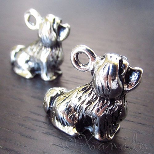 OutletBestSelling Pendants Beads Bracelet Lhasa Apso Dog Wholesale Antiqued Silver Plated 3D Charms 2pcs ()