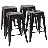 Devoko Tolix Style Metal Bar Stools 24'' Indoor Outdoor Stackable Barstools Modern Industrial Vintage Black Counter Bar Stools Set of 4 (Black)