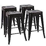"Devoko Tolix Style Metal Bar Stools 24"" Indoor Outdoor Stackable Barstools Modern Industrial Vintage Black Counter Bar Stools Set of 4 (Black) Review"