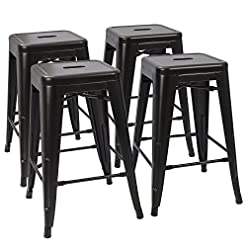 Kitchen Devoko Metal Bar Stools 24″ Indoor Outdoor Stackable Barstools Modern Style Industrial Vintage Counter Bar Stools Set of 4 (Black) modern barstools