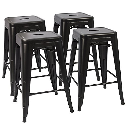 Devoko Tolix Style Metal Bar Stools 24'' Indoor Outdoor Stackable Barstools Modern Industrial Vintage Black Counter Bar Stools Set of 4 (Black) (Bar Black Stools Breakfast)