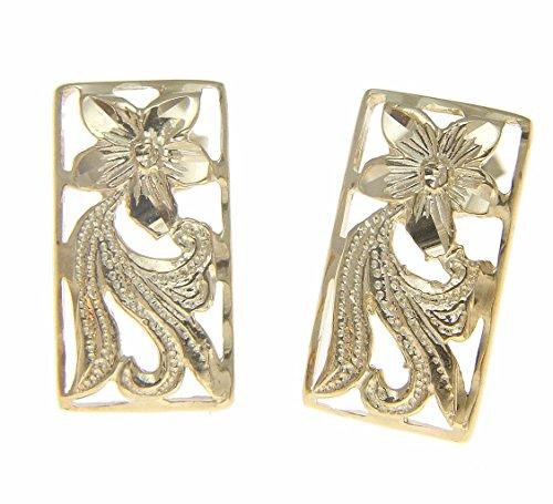 14k yellow gold Hawaiian diamond cut plumeria flower scroll stud (Plumeria Flower Diamond Earrings)