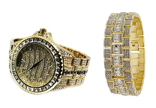 XL Heavy Techno Full Iced Out Gold Plated Rotate Round Hip Hop Bling Watch + Bracelet Set by Bling King