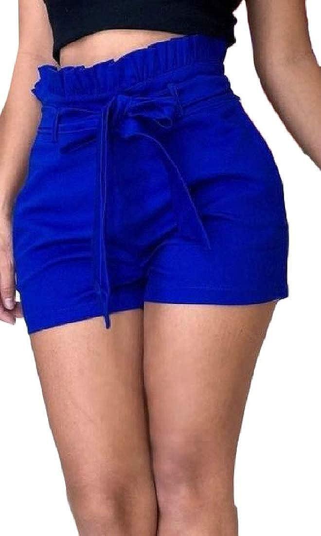 Etecredpow Women High Waist Bowknot Paper Bag Classic Wide-Leg Shorts