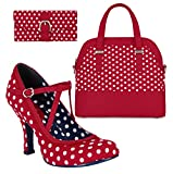 Ruby Shoo Women's Red & White Spot Jessica Mary Jane Pumps & Lima Bag & Como Purse UK 8 EU 41