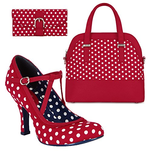 Ruby Shoo Women's Red & White Spot Jessica Mary Jane Pumps & Lima Bag & Como Purse UK 8 EU 41 by Ruby Shoo