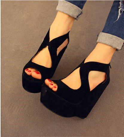 spessore scarpe Pesci Pan impermeabile piattaforma con nero 38 piattaforma ultra sandali sandali naso di donna con pendii impermeabile spagna yalanshop 7PqadwYY