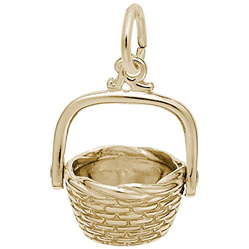 Nantucket Basket Charm In 14k Yellow Gold, Charms for Bracelets and Necklaces