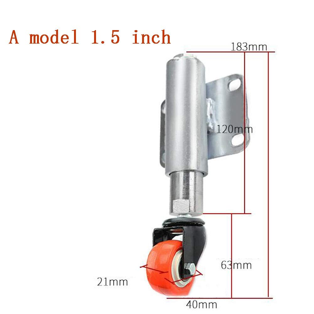 MUMA 1.5 Inches Silent Shock Absorber Shock Absorber Spring Wheel Wear-resistant Casters Telescopic 60MM Large Door Shock Absorber Wheels (Color : Without brake, Size : T2)
