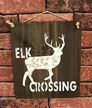 King34Webb Letrero de madera con cruce de alces y granero rústico para decoración de la pared, Día del Padre, hombre, Caza, Regalo para cazadores