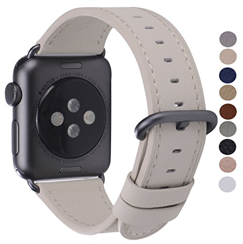 PEAK ZHANG Compatible with Apple Watch Band 38mm/40mm 42mm/44mm Genuine Leather Replacement Strap Compatible iWatch Series 4 3 2 1 Men Women (Off White/Space Grey Aluminum, 38mm 40mm S/M)