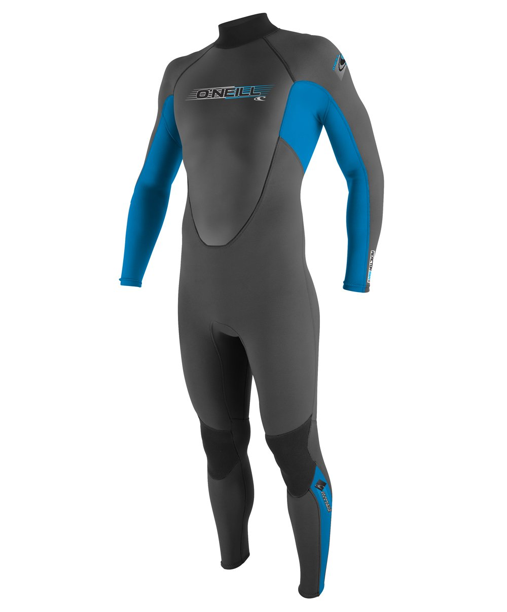 O'Neill Youth Reactor 3/2mm Back Zip Full Wetsuit, Graphite/Bright Blue/Graphite, 10