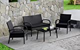 Cloud Mountain Patio Furniture 4 Piece Wicker Rattan Conversation Set Black Modern Fashion Style Easy Assembly Ergonomic Comfortable Thick Cushions Outdoor Garden Patio Lawn Balcony Pool with Non-Slip For Sale