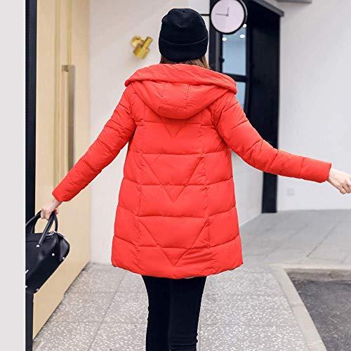 Parka Mujeres Señoras Abrigo Escudo Rojo Cálido Capucha Las Cuello Chaqueta Fuweiencore Acolchado Largo Outwear Prendas Espesar De Invierno Casual 0CBqnwY