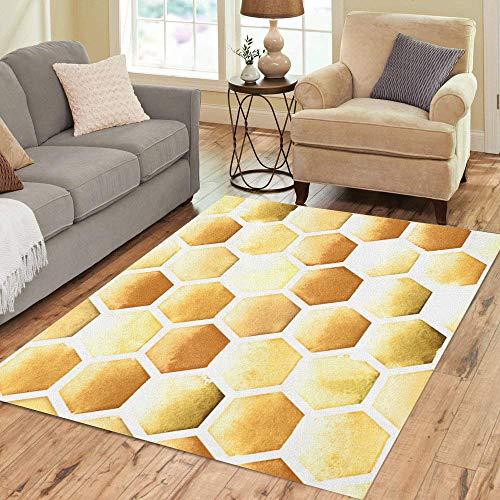 Pinbeam Area Rug Orange Honey Bee Honeycomb Pattern on Watercolor Yellow Home Decor Floor Rug 5' x 7' Carpet