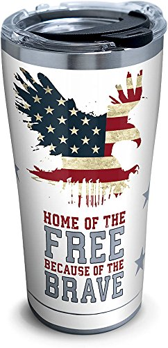 Tervis 1261375 Home of the Free Because of the Brave Stainless Steel Tumbler with Clear and Black Hammer Lid 20oz, Silver (Design Stainless Steel Lined Vacuum)