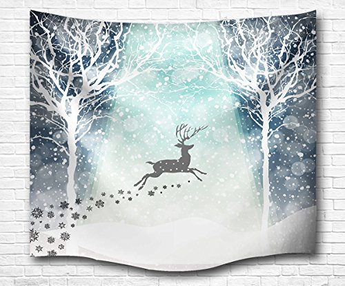 QiyI Interior Christmas Snow Scene Decor Light-Weight Polyester Fabric Tapestry - Romantic Pictures Art Nature Home Decorations - 60