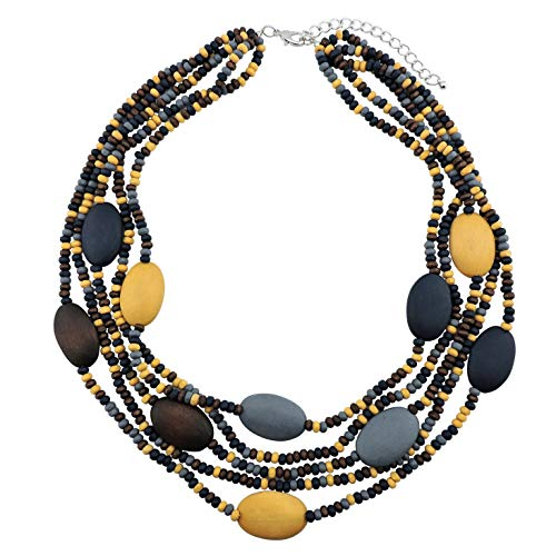 COIRIS Multi Color 5 Layers Wood Beads Strand Statement Necklace for Women Chunky Collar (N0019) (Brown + Gray +Dark Blue + Khaki)