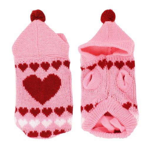 Cheap Pet Dog Pink Knitted Hoodie Heart Printed Clothing Sweater Size XXS