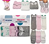 Baby Girl Knee High Long Socks Non Slip Toddler Socks 6-24 Months Anti Slip Non Skid Leg Warmer Walker Baby Socks Gift Set, Best Gifts for 1 Year Old Girl from Tiny Captain (Small, Pink White Grey)