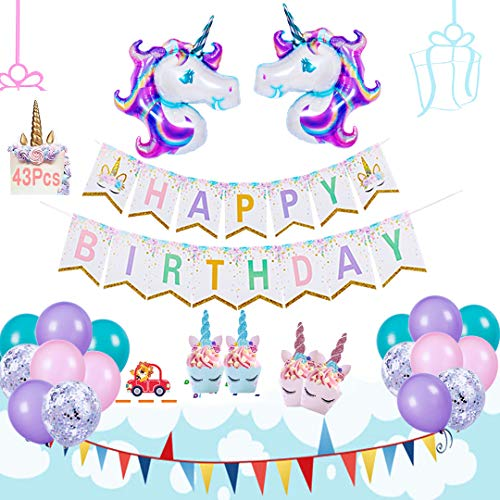 AIFUN Unicorn Party Supplies- Unicorn Birthday Party Decorations Included Huge Unicorn Balloon, Unicorn Happy Birthday Banner, Unicorn Cupcake Toppers+Wrappers, Unicorn Confetti +Pink, Purple,Turquois