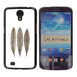 Paccase / SLIM PC / Aliminium Casa Carcasa Funda Case Cover para - Feather Leaf Fall White Brown Minimalist - Samsung Galaxy Mega 6.3 I9200 SGH-i527