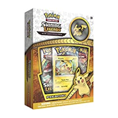 A Pokemon as quick as Lightning. A brave heart and a Thunder wave will take any Pokemon far and for Pikachu, that persistence is the road to Success in battle. With this shining Legends pin collection, you get Pikachu as a never before seen f...