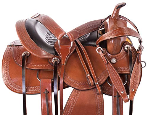 (AceRugs Pleasure Trail Saddle Western Riding All Purpose Premium Tooled Leather Comfy SEAT Free Headstall REINS Breast Collar (Tan, 18))