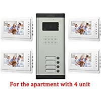 Apartment Wired 7 Inch Monitor Video Door Phone Audio Visual Intercom Entry Access System 4 Units