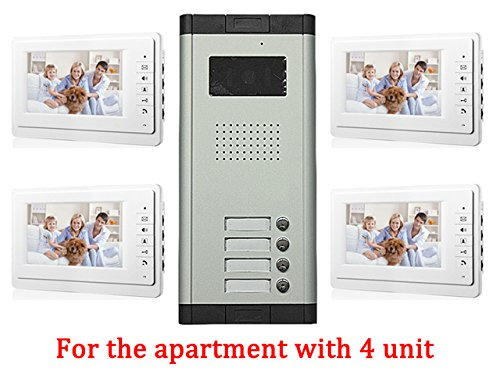 (Apartment Wired 7 Inch Monitor Video Door Phone Audio Visual Intercom Entry Access System 4 Units)