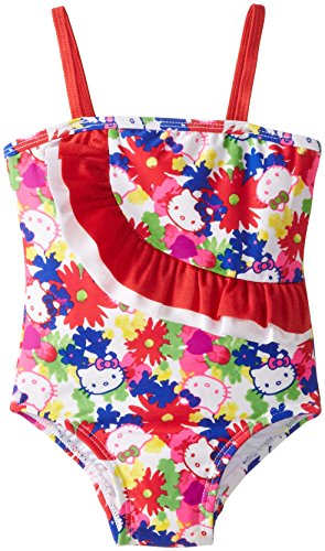 Hello Kitty Little Girls' Toddler Poppy Petals One Piece, White, 2T