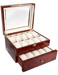 Tech Swiss TSAA31-577BUR Luxury Watch Storage Box with Burlwood Grain Finish