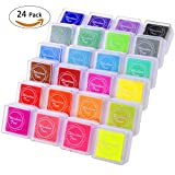 #2: Fixget 24 Colors Ink Pad Stamps, Creative DIY Rainbow Color Finger Water-Soluble Rubber Stamps Crafts Ink Pads Set Scrapbooking Printing Card Making for Kids