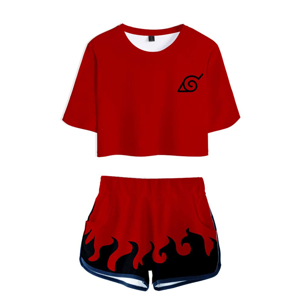 Naruto Anime Sets 3D T-Shirt Crop Top /& Pantaloncini Maglietta Manica Corte Top e Pantaloncini Uchiha Clan Syarinngann Hokage Ninjia Estampado Fans Sports Shorts Tshirt