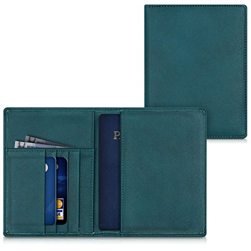 kwmobile Passport Holder with Card Slots - PU Leather Cover Protective Case